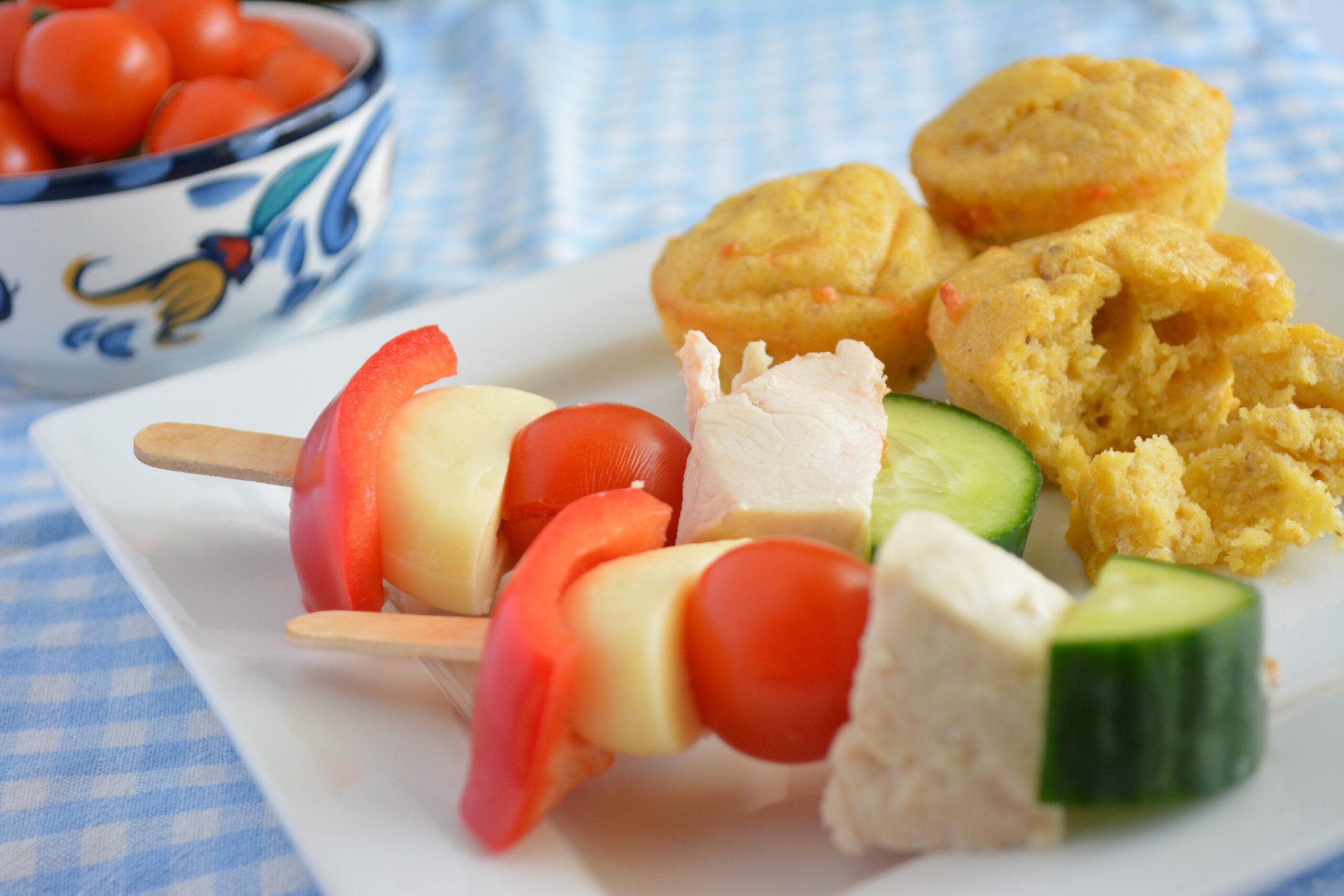 Gluten-free lunch sticks and parmesan polenta bites