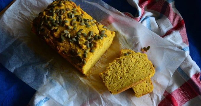 Gluten-free Pumpkin Bread with toasted pumpkin seeds